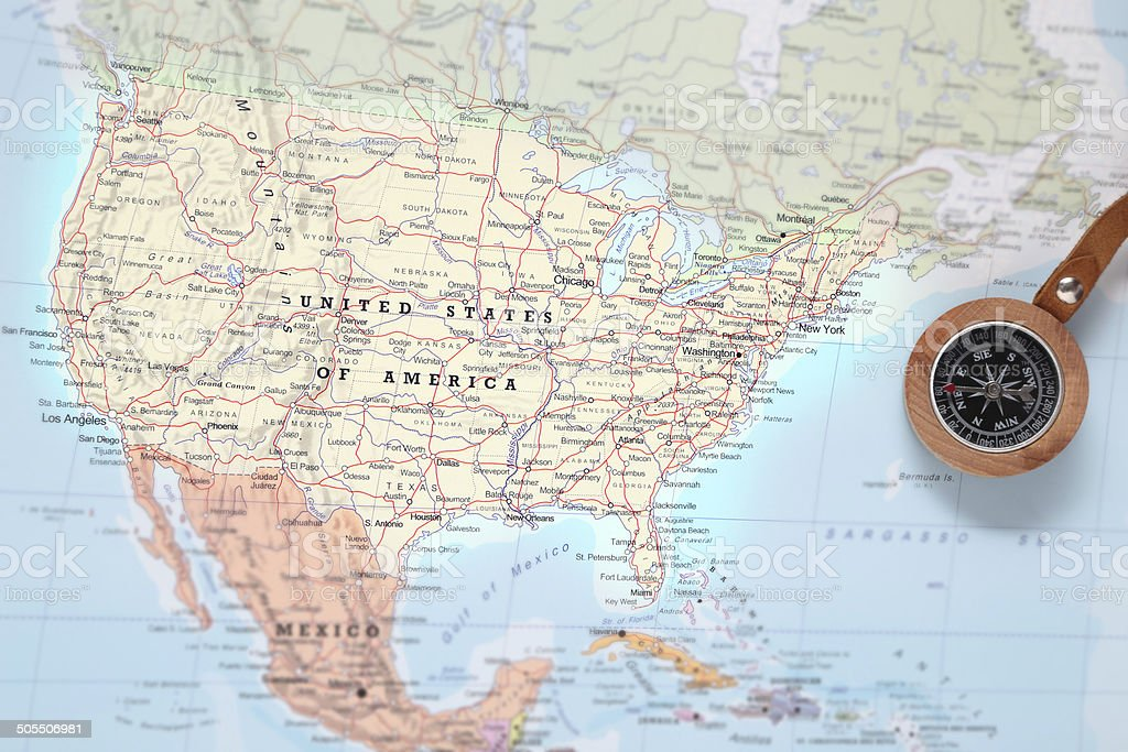 Travel destination United States, map with compass stock photo