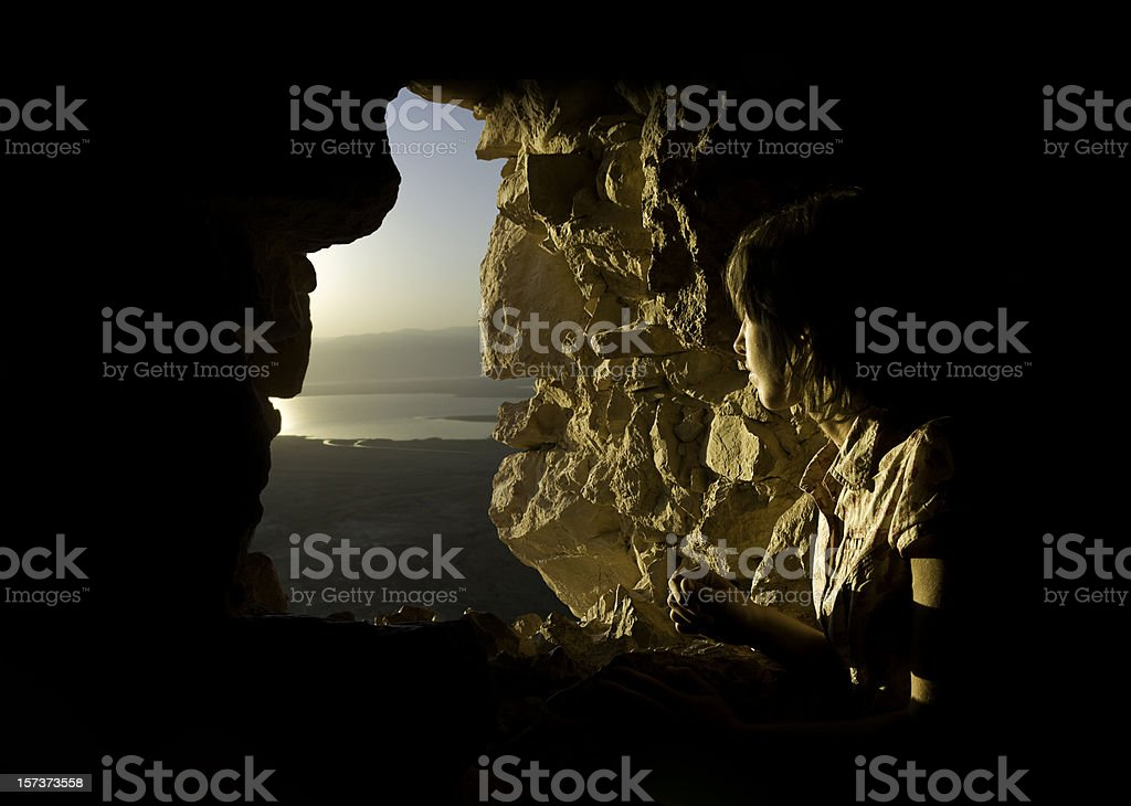 Travel Discovery In Ancient Stone Window stock photo