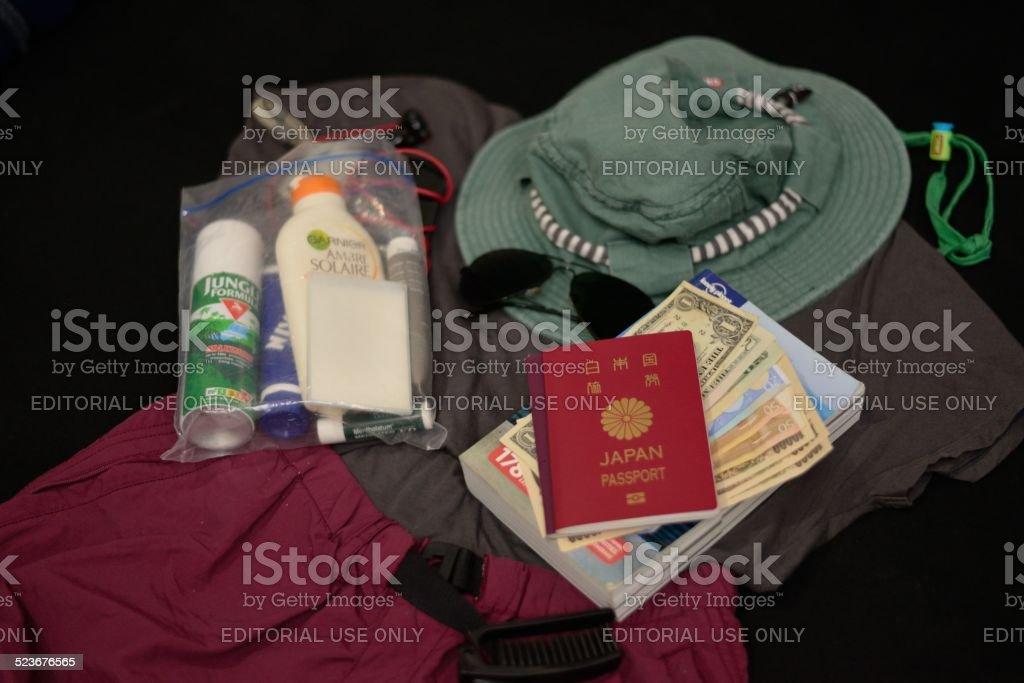 Travel essentials stock photo