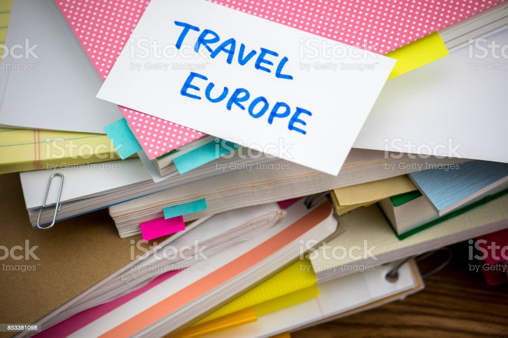 Travel Europe; The Pile of Business Documents on the Desk stock photo