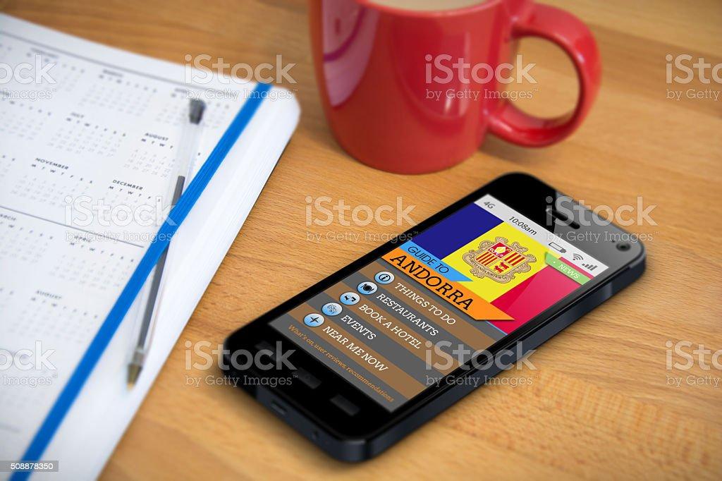 Travel Guide - Andorra - Smartphone App stock photo