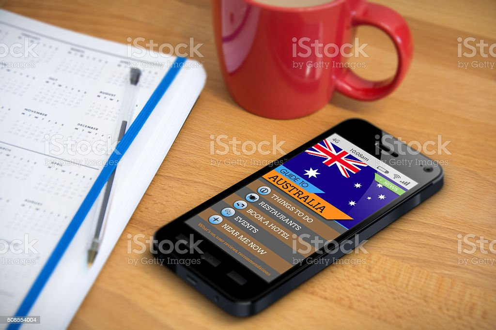 Travel Guide - Australia - Smartphone App stock photo