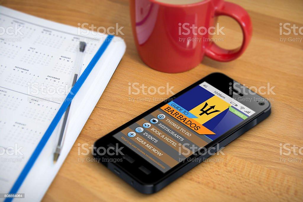 Travel Guide - Barbados - Smartphone App stock photo