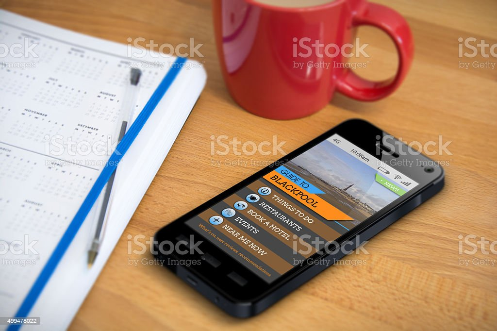 Travel Guide - Blackpool - Smartphone App stock photo