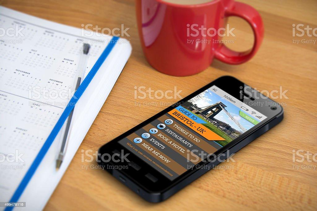 Travel Guide - Bristol - Smartphone App stock photo