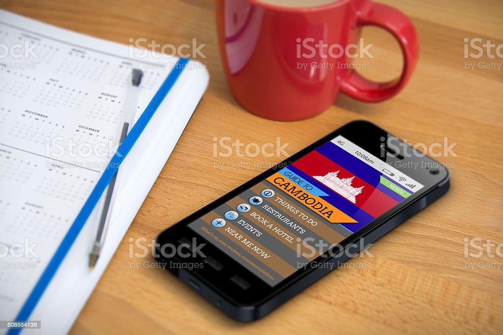 Travel Guide - Cambodia - Smartphone App stock photo