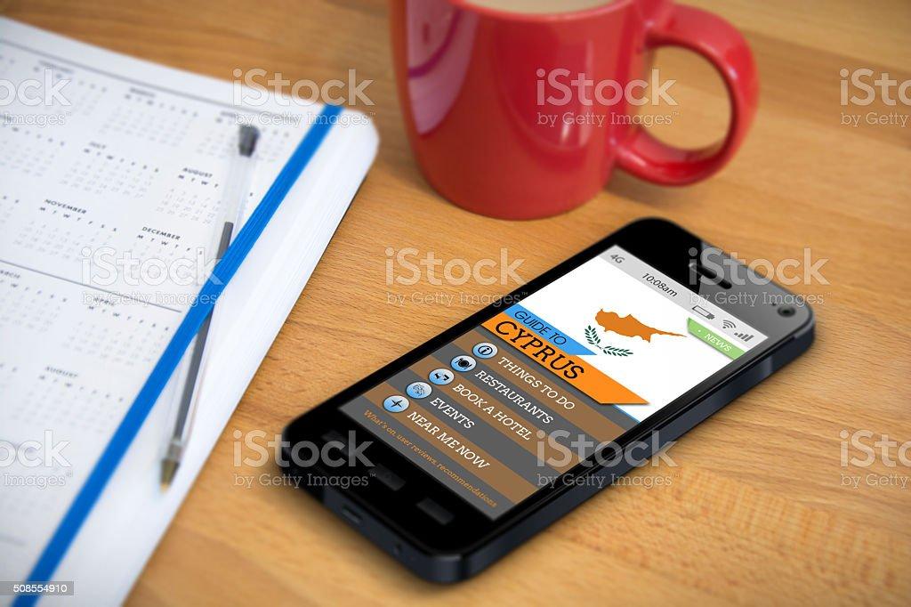 Travel Guide - Cyprus - Smartphone App stock photo