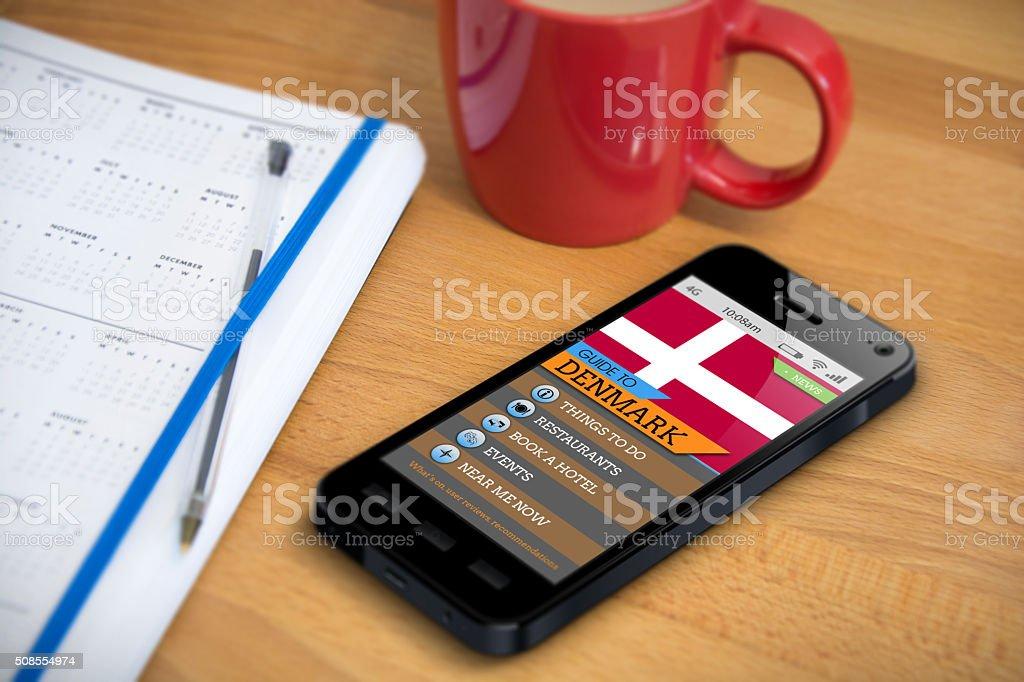 Travel Guide - Denmark  - Smartphone App stock photo