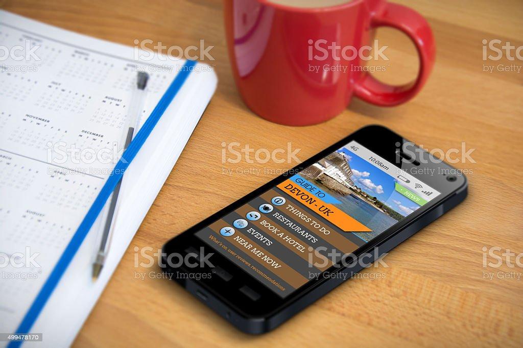 Travel Guide - Devon - Smartphone App stock photo