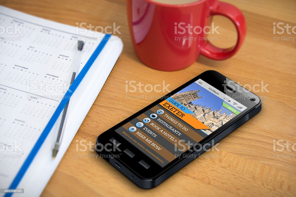 Travel Guide - Exeter - Smartphone App stock photo