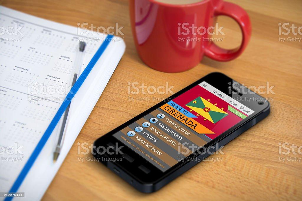 Travel Guide - Grenada - Smartphone App stock photo