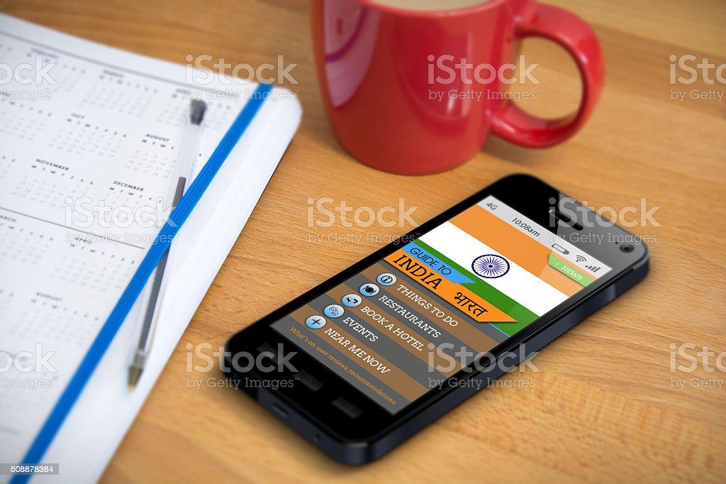 Travel Guide - India- Smartphone App stock photo