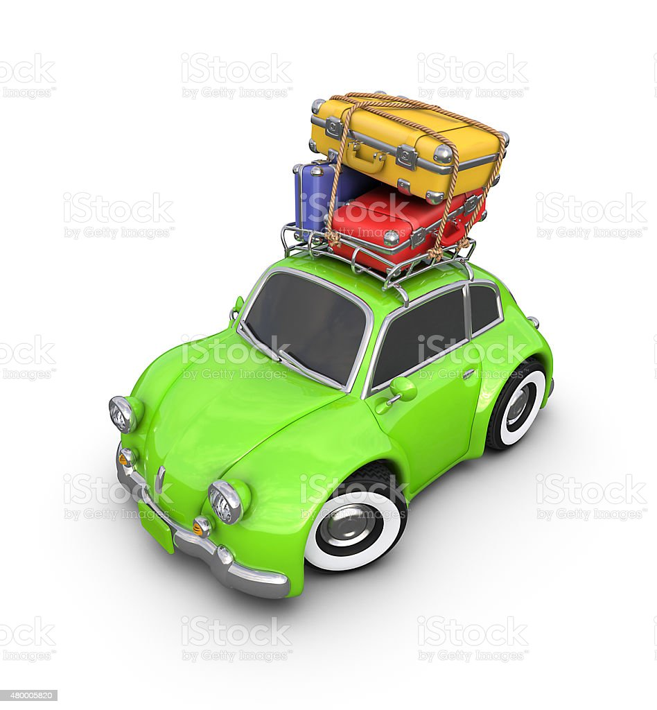 Travel in a small retro car. royalty-free stock vector art