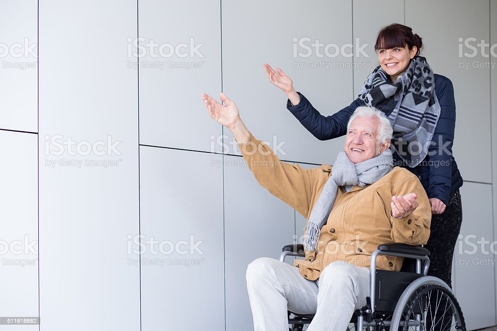 Travel in a wheelchair stock photo