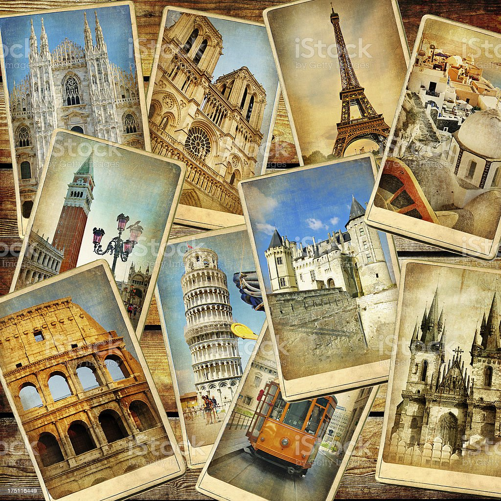 Travel in Europe background stock photo