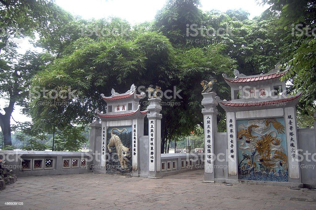 Travel in Ngoc Son Temple at Hanoi Vietnam stock photo