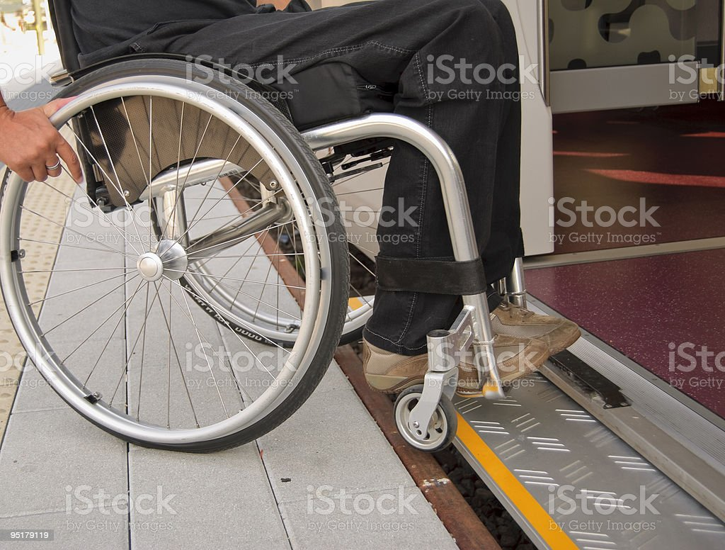Travel independently with a wheelchair stock photo