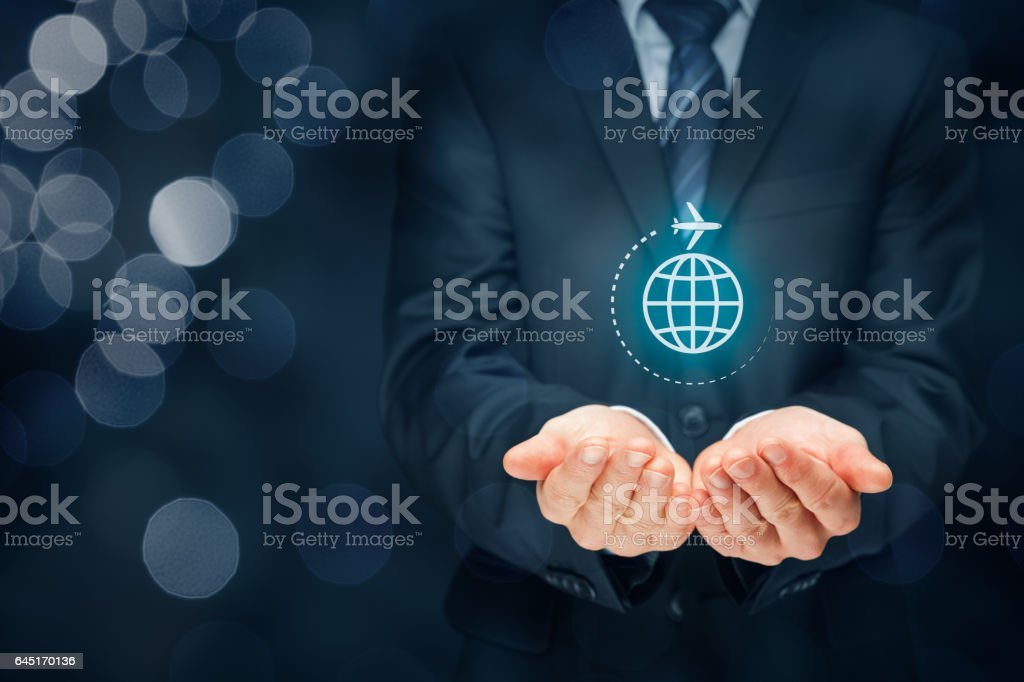 Travel insurance and business travel stock photo