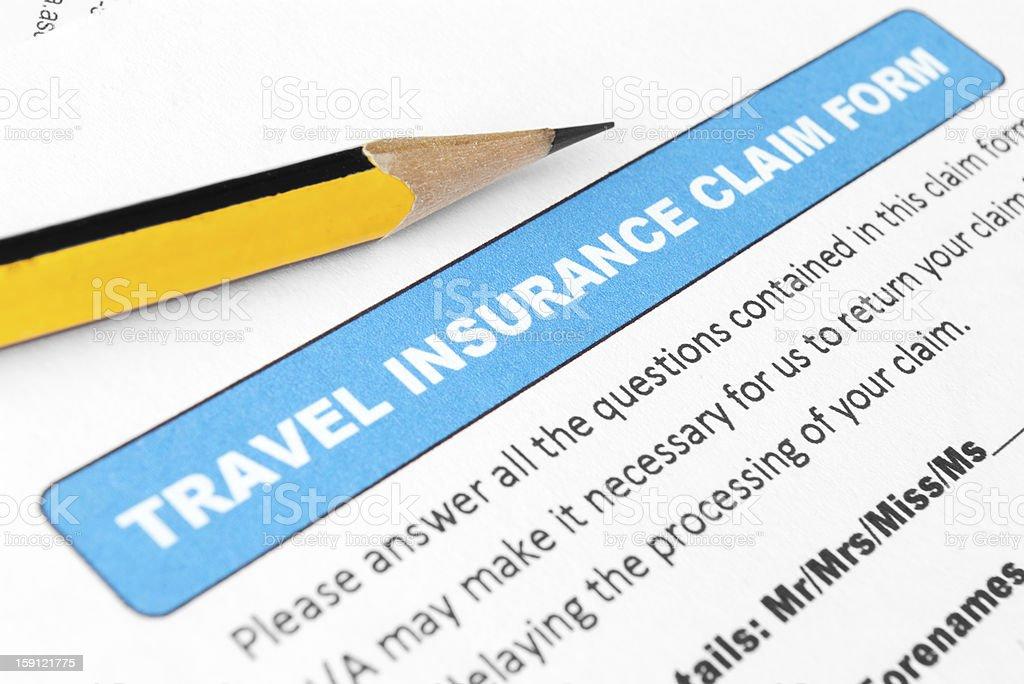 Travel insurance claim form royalty-free stock photo