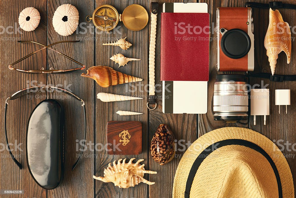 Travel items flat lay stock photo