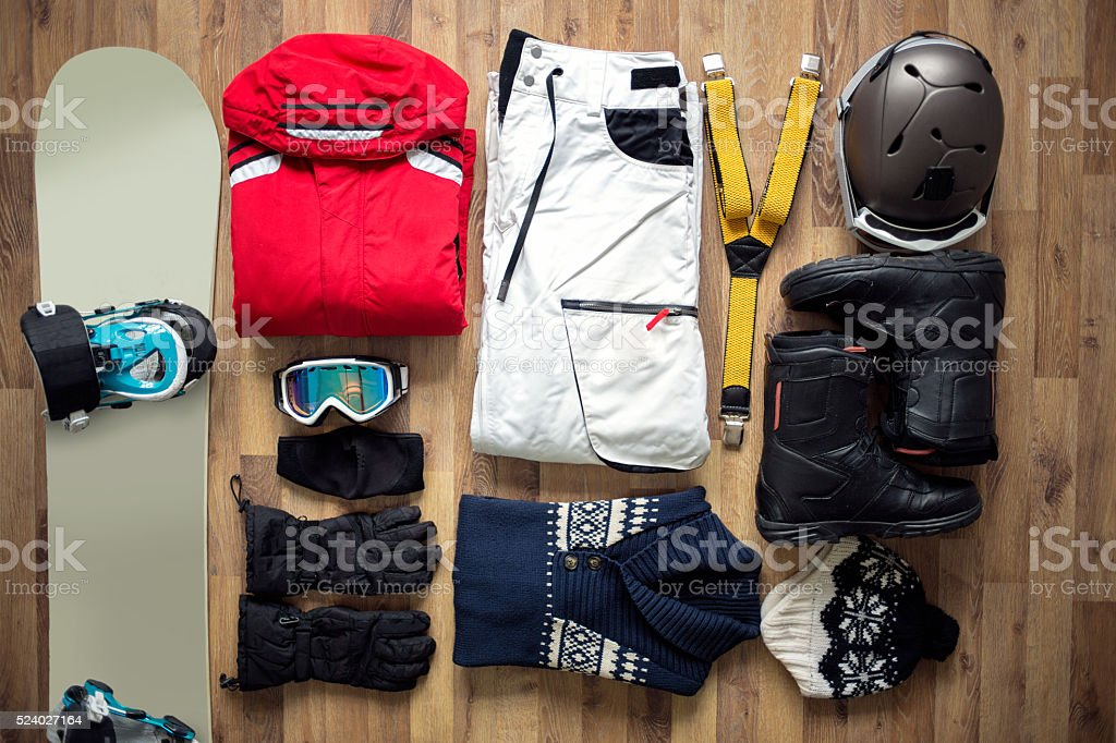 Travel items on the floor stock photo