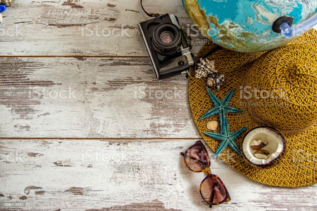 travel items on wooden background stock photo