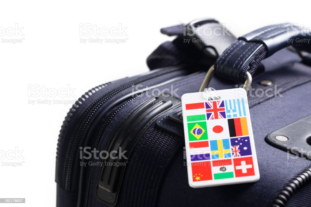 Travel luggage with multi-country identity label stock photo