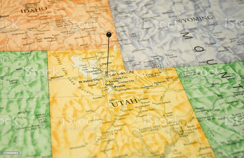 Travel Macro Map Of Utah Wyoming And Idaho stock photo