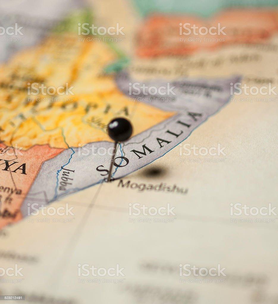 Travel Macro Road Map Of Mogadishu Somalia stock photo