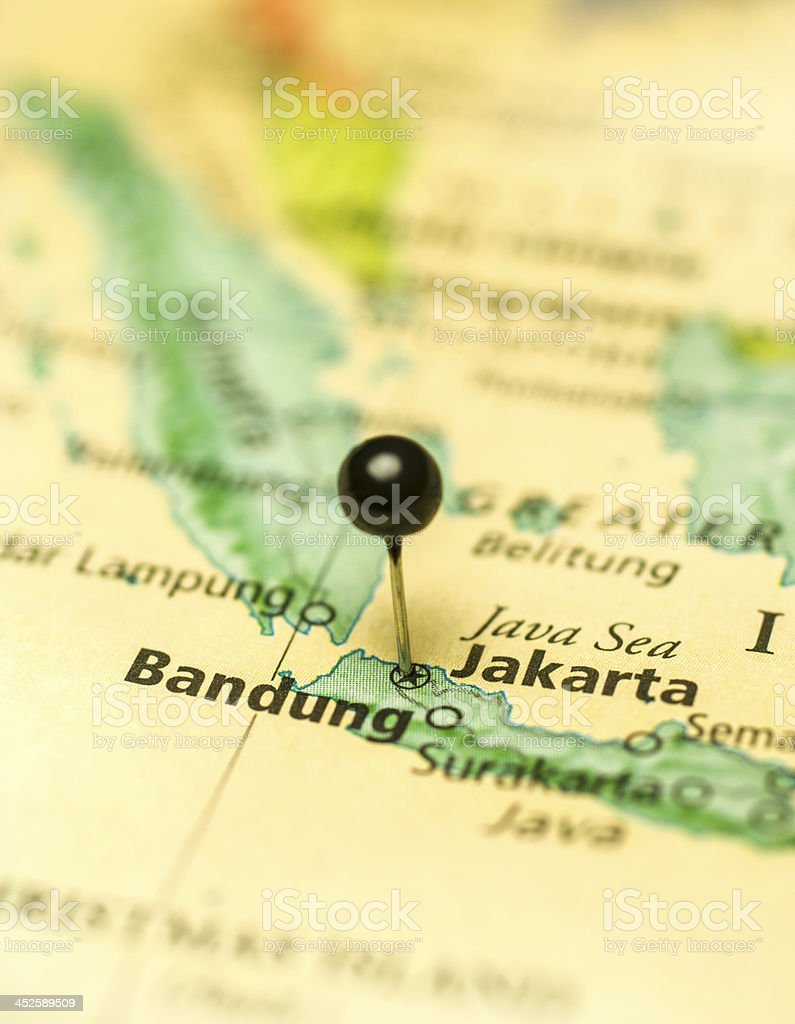 Travel Map Macro Of Jakarta Bandung Java stock photo