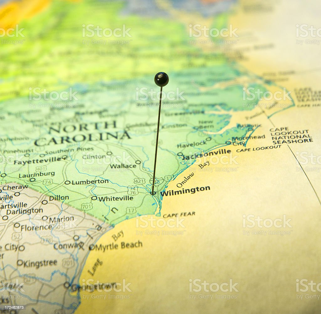 Travel Map Macro Of North Carolina Coast And Wilmington stock photo