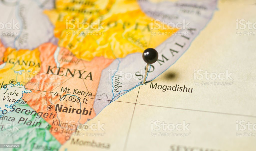 Travel Map of Africa Kenya Nairobi Mogadishu Somalia stock photo