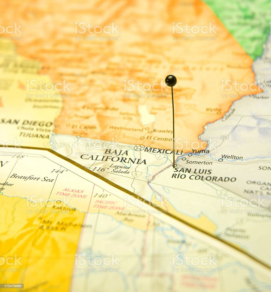 Travel Map Of Baha California San Diego And Mexicali stock photo