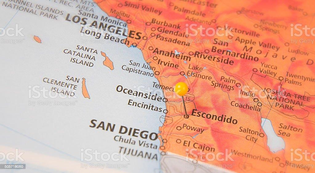 Travel Map Of Escondido California stock photo