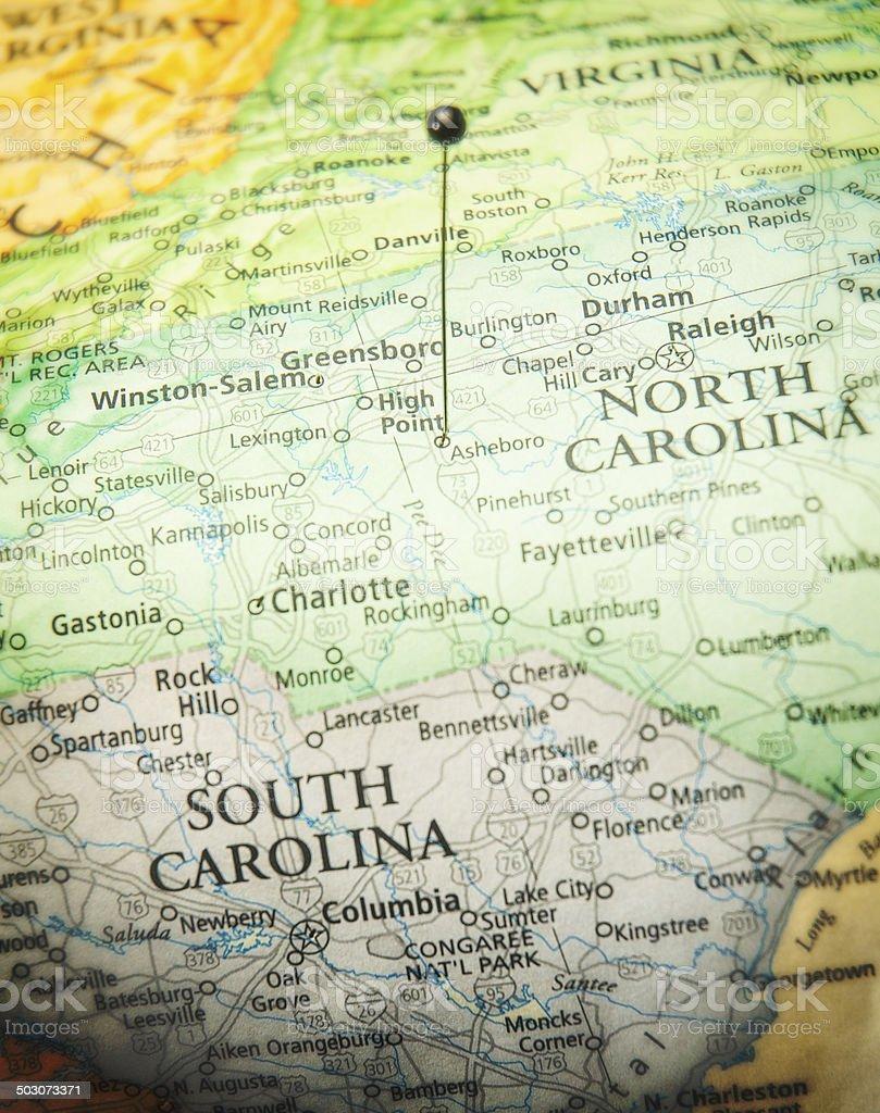 Travel Map Of High Point North Carolina And South Carolina stock photo