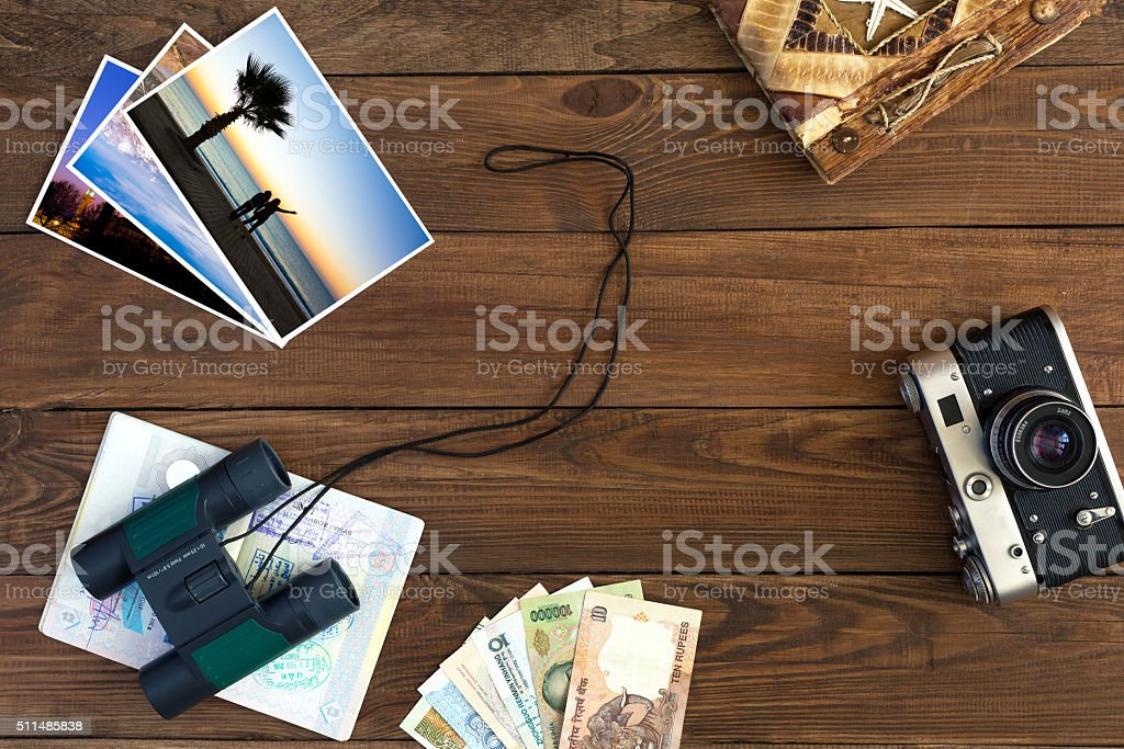 Travel Memories Vintage Composition with Colour Images and Binoculars stock photo