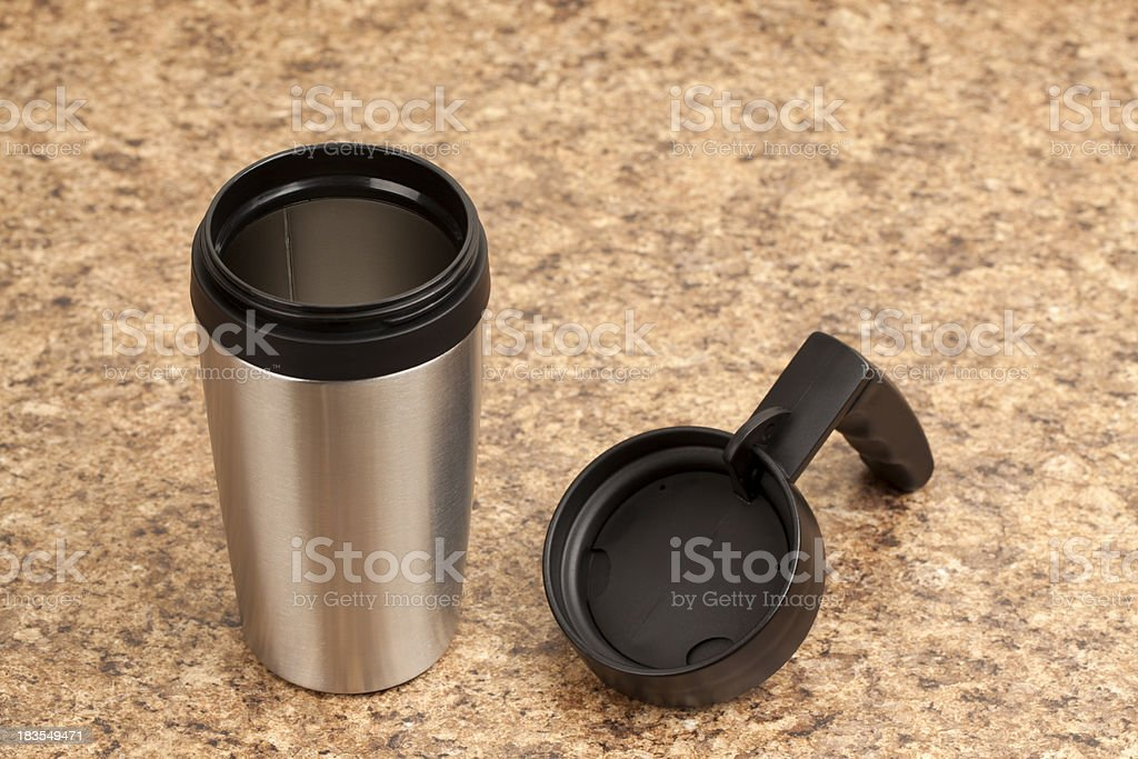 Travel Mug on Kitchen Counter stock photo