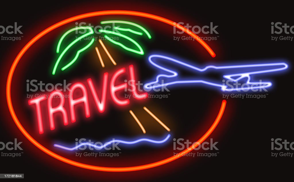 Travel Neon royalty-free stock photo