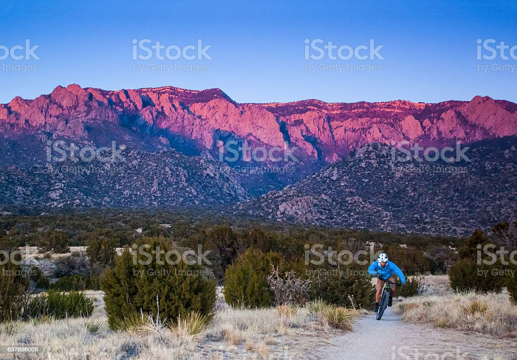 travel new mexico man nature adventure stock photo