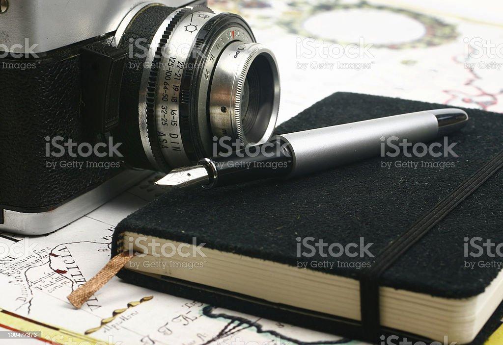 Travel notes and camera stock photo