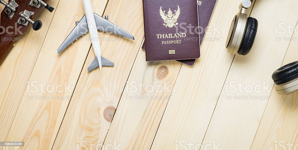 Travel objects equipments on wooden table with copy space. stock photo