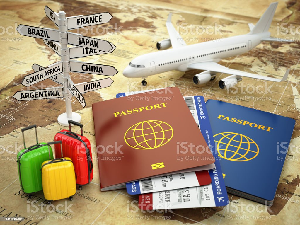 Travel or tourism concept. Passport, airplane, airtickets, bagga stock photo