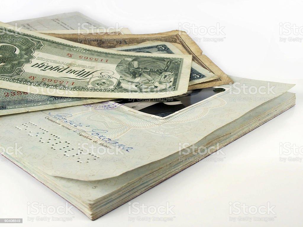 Travel Passport and money stock photo