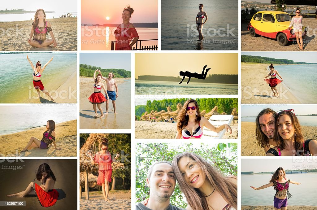 Travel photo collage young adults having fun stock photo