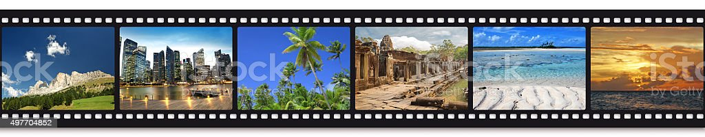 travel photos in a film strip stock photo