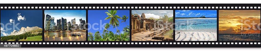 travel photos in a film strip stock photo
