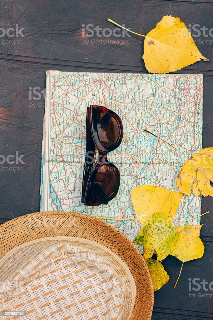 Travel Planning Hat Map Sunglasses Autumn Leaves Travel Concept – Travel Planning Map