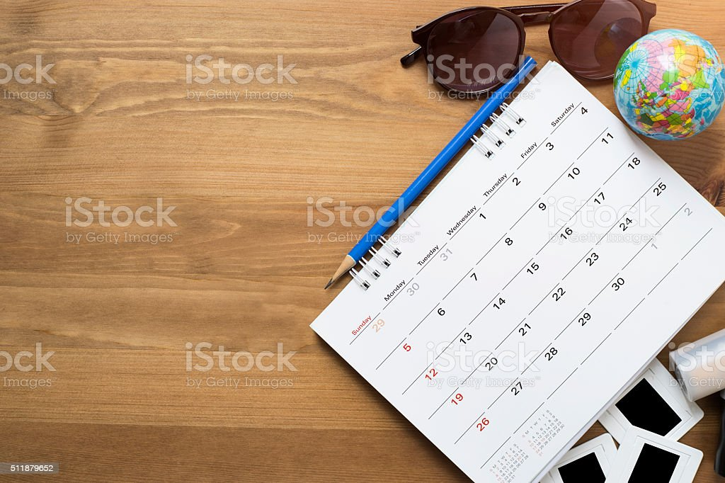 travel planning on wooden background stock photo