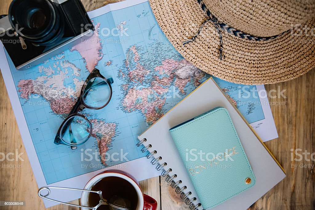 Travel preparations essentials. stock photo