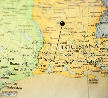 Travel Road Map Lake Charles Louisiana Texas Lafayette Gulf Coast